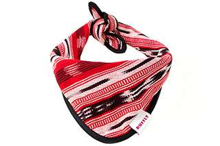 Top front view of red dog bandana with knot