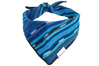 Top front view of blue dog bandana with knot