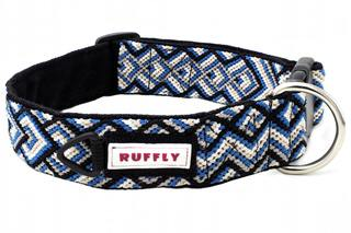 Top front view of blue and black dog collar