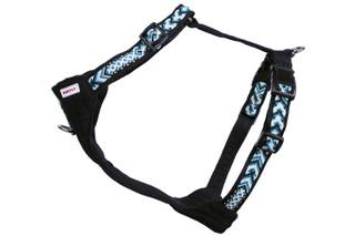 Side view of large blue and black dog harness