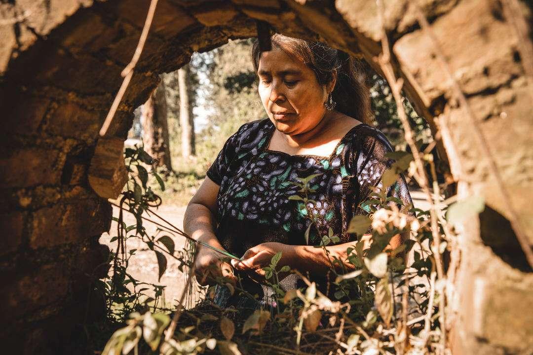 Indigenous Guatemala woman artisan ties macrame in natural setting