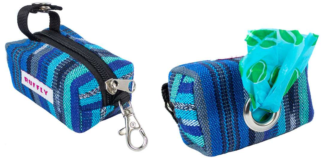 Front-top and underside view of a blue handmade dog poop bag holder