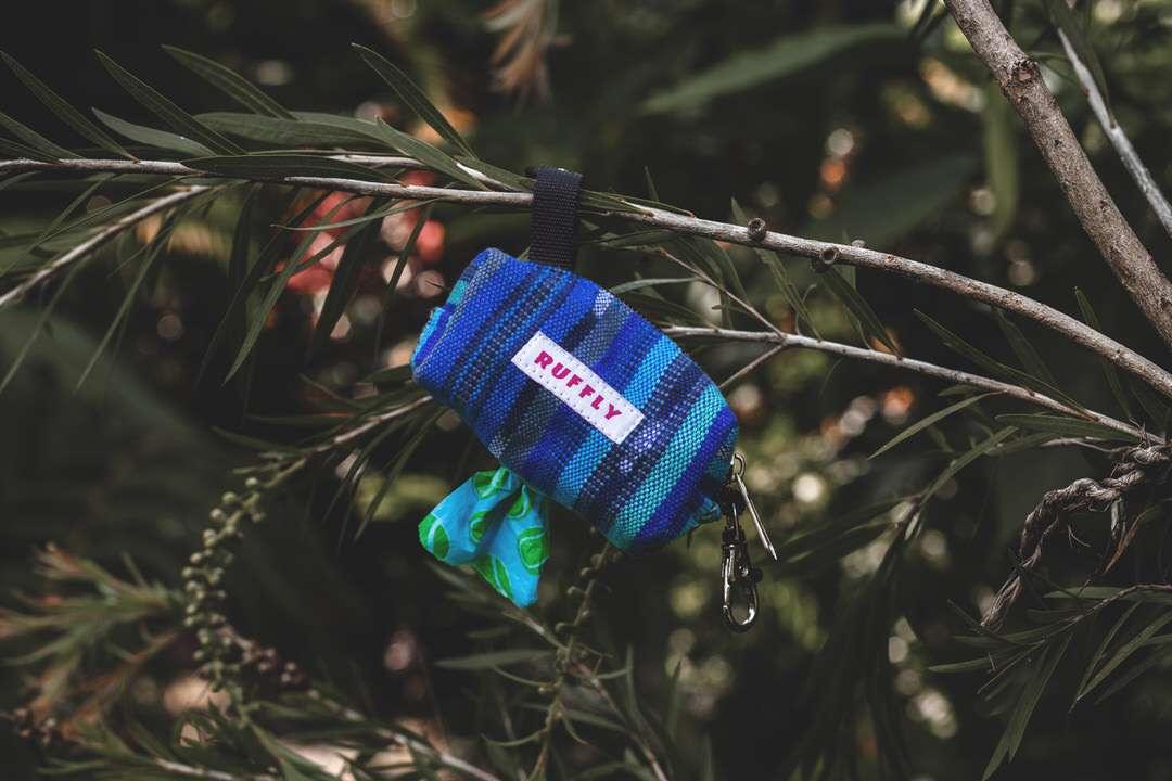 Blue poop bag holder hangs from tree branch