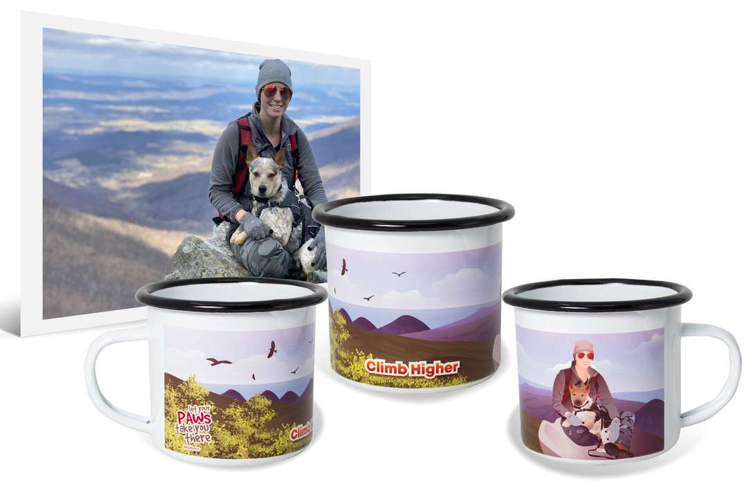 Girl sits with white dog in photo and printed in artwork on enamel camping mug