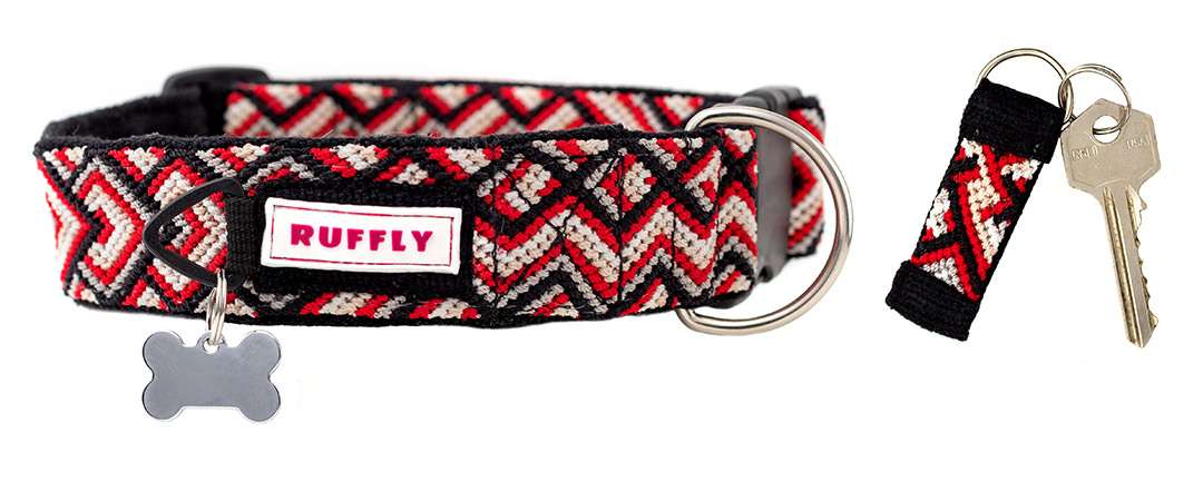 Red and black dog collar with bone-shaped ID tag and matching keychain