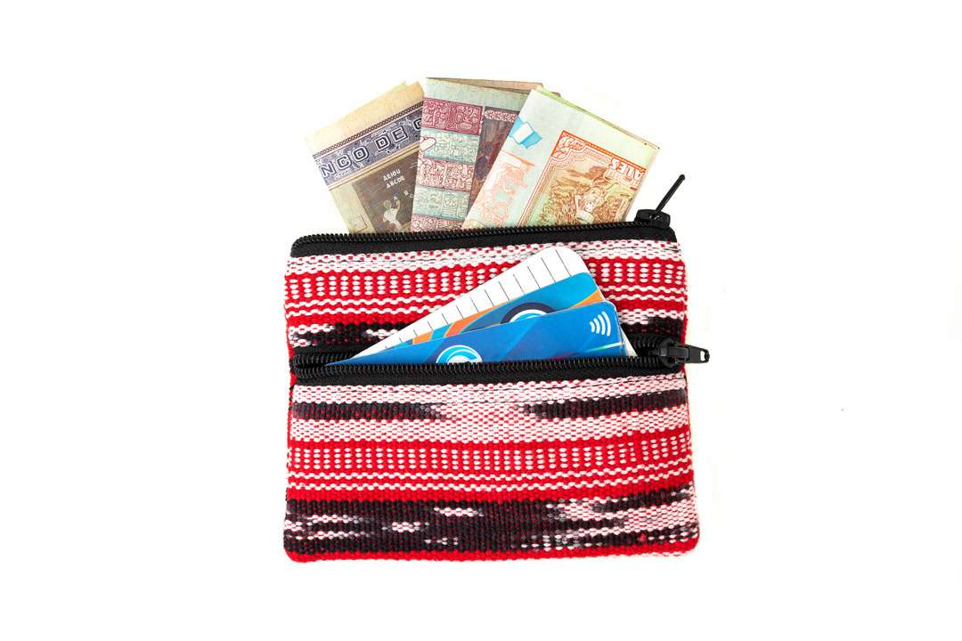Simple change purse with two zippered compartments for cash and cards