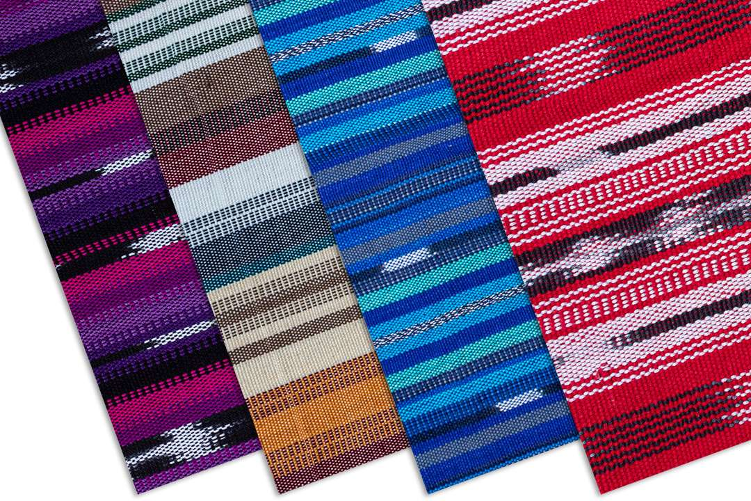 Handwoven fabric patterns in pink, purple, brown, green, blue, and red