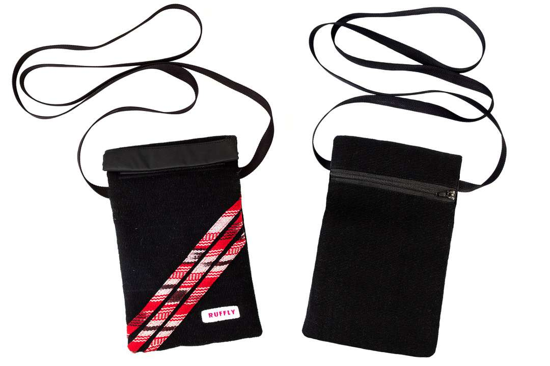 Both sides of red and black small crossbody bag in handwoven cotton