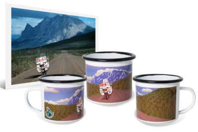 12oz metal enamel camping mug with custom artwork created from original travel photo