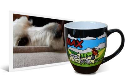 14oz engraved and hand-painted ceramic latte coffee mug with personalized artwork created from original dog photo