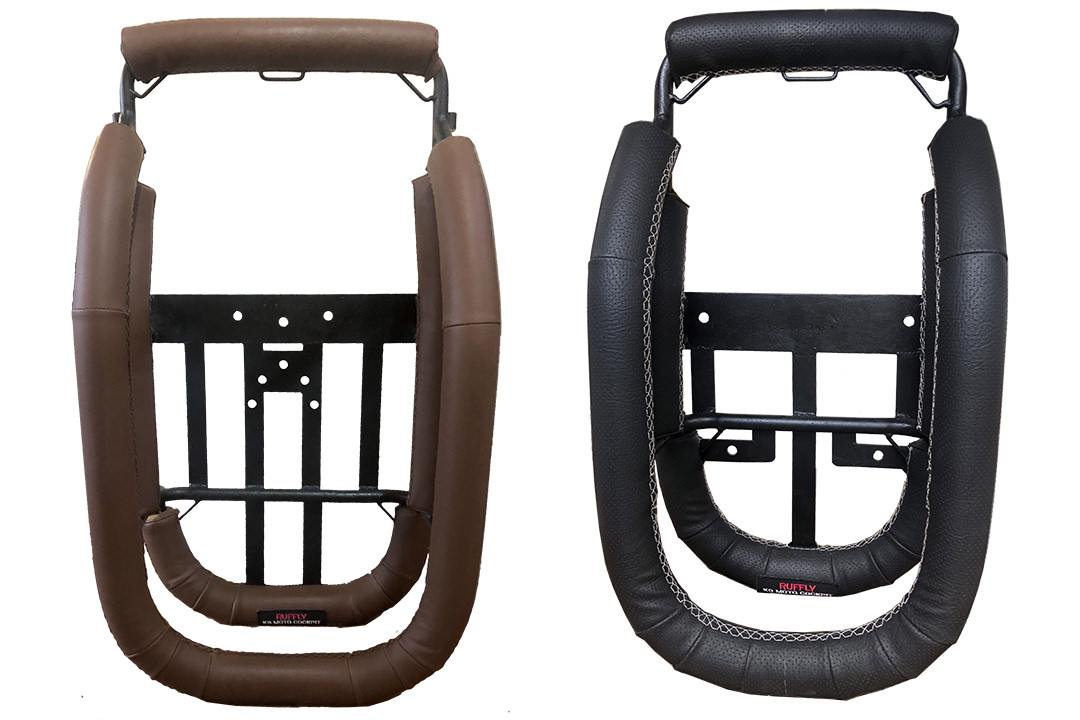Two motorcycle dog carriers seen from above to show different mounting and vinyl customizations
