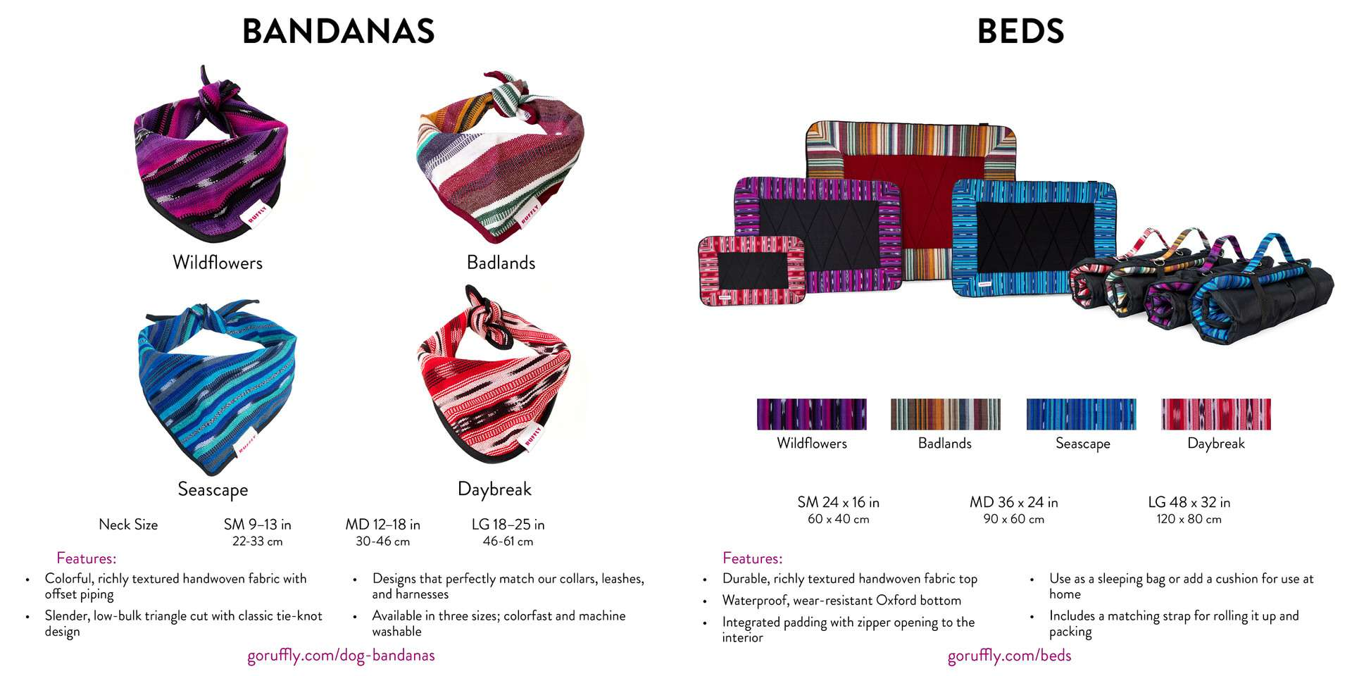 Pages 12 and 13 of RUFFLY's lookbook catalogue of dog gear feature bandanas and travel