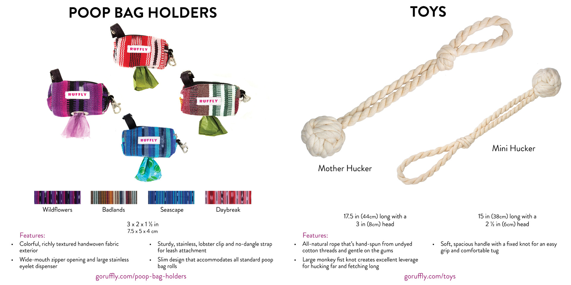 Pages 14 and 15 of RUFFLY's lookbook catalogue of dog gear feature woven poop bag holders and rope dog toys
