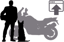 Silhouette of man, dog, and motorcycle with upload to web page symbol