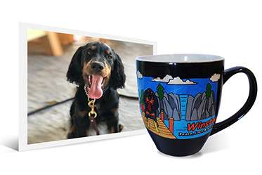 Photo and artwork on dog with long tongue engraved on ceramic coffee mug