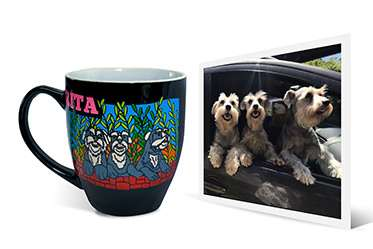 Photo of three dogs at car window and engraved artwork of dogs on ceramic coffee mug