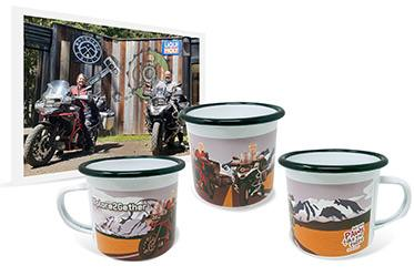 Photo and artwork on enamel camping mug of older man and woman sitting on motorcycles