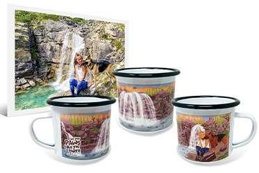 Photo and artwork on enamel camping mug of girl sitting next to German Shepherd beside waterfall