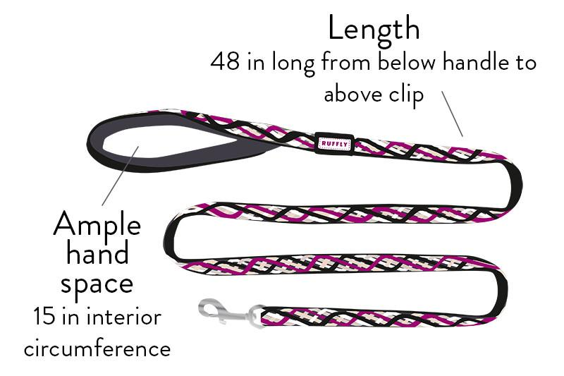 Artistic graphical diagram of knotted collection of dog gear with text to describe the length
