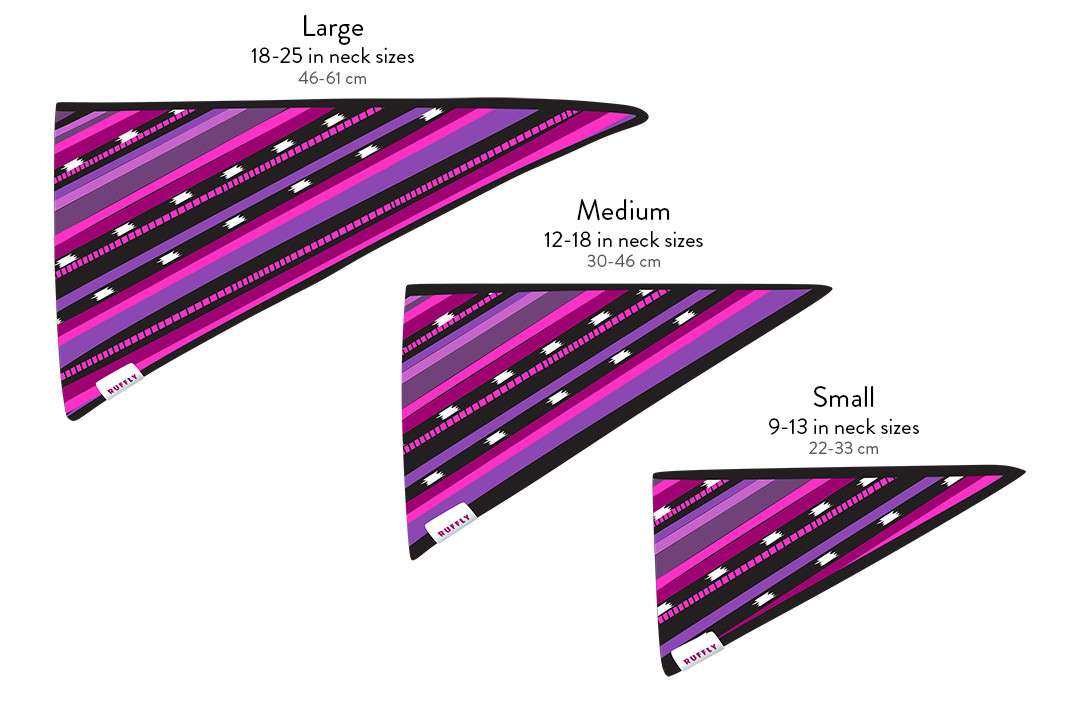 Artistic graphical diagram of outdoor dog bandana that highlights the size measurements