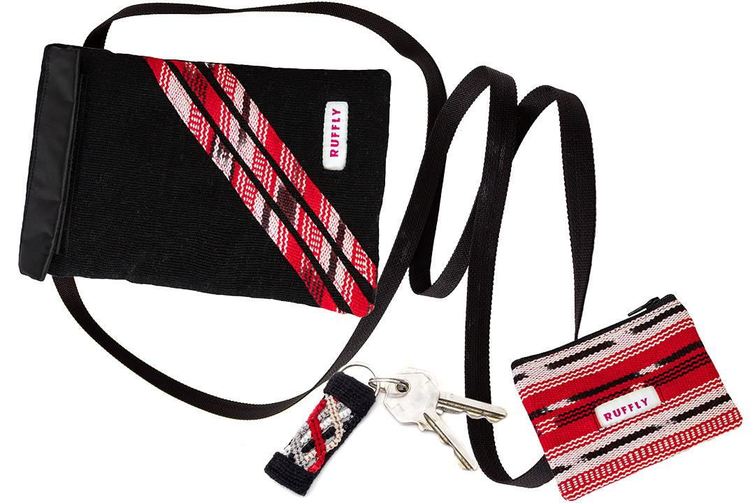 Red and black mini crossbody bag, non-leather wallet, and keychain in matching patterns
