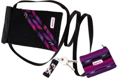 Matching set of crossbody bag, change purse, and keychain in pink and purple
