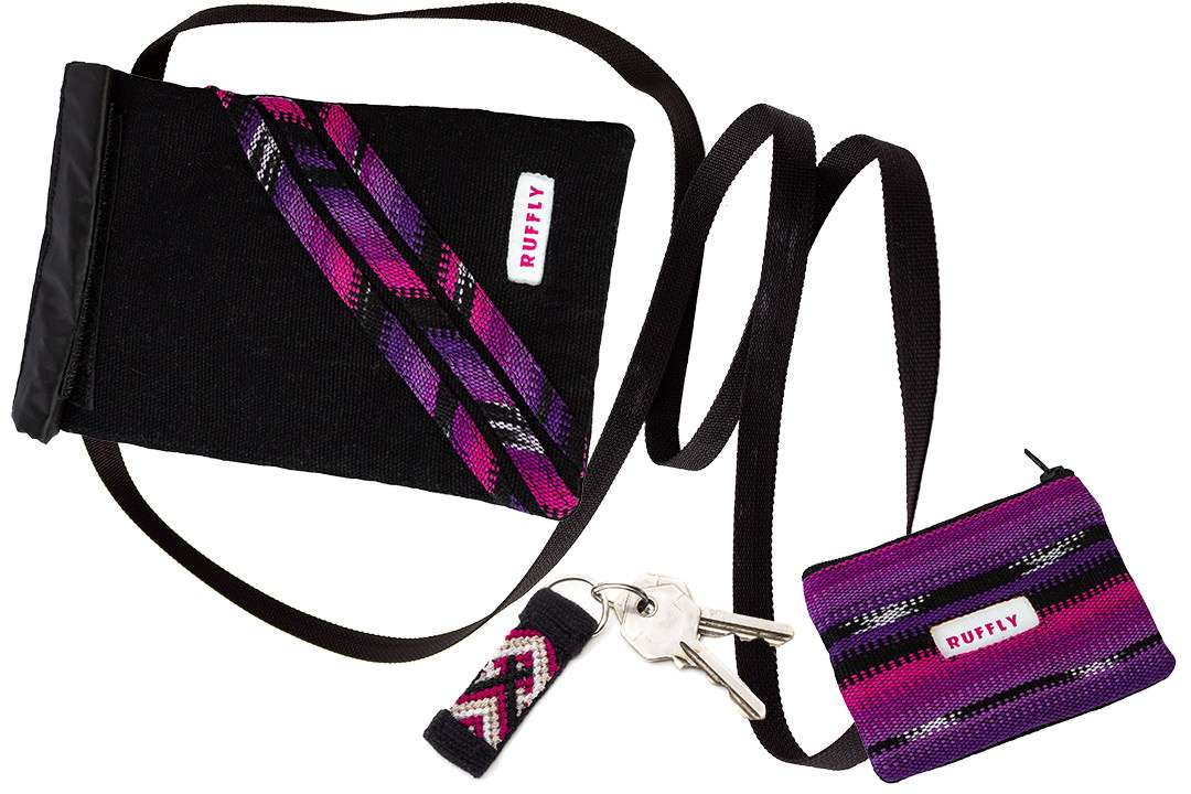 Set of matching, handmade crossbody bag, change purse, and keychain in pink and purple
