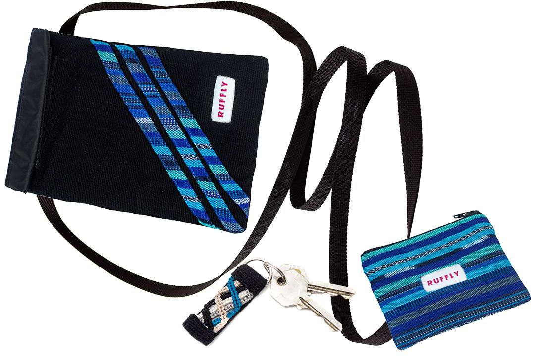 Naturally dyed colorfast cotton crossbody bag, change purse, and keychain in blue and black