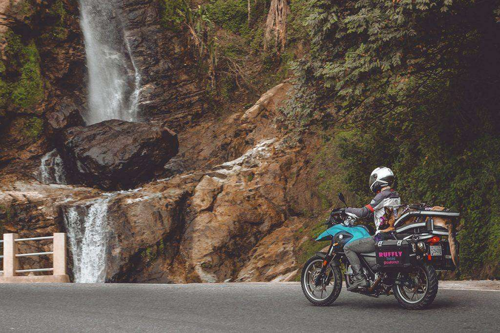 Woman rides adventure motorcycle painted in aqua beside a waterfall with German shepherd's long tail hanging off the back