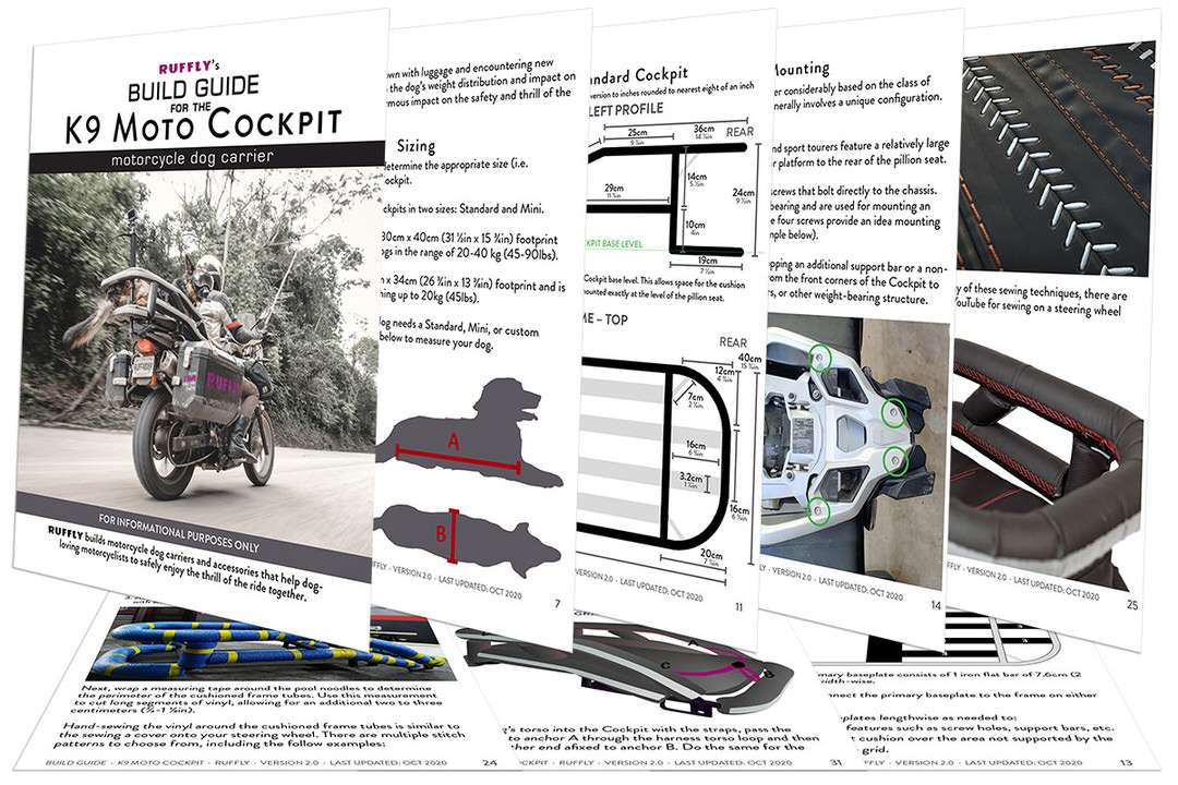 Pages from DIY instruction manual for building a custom motorcycle dog carrier to mount to any motorcycle