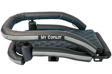 Motorcycle dog carrier for large dogs with black vinyl and blue stitching seen from side-top view