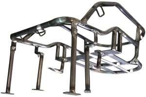 Steel tube frame and mounting components of motorcycle dog carrier for large dog