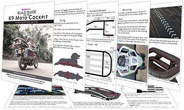 Assorted pages from graphical instruction booklet for building a motorcycle dog carrier for large dogs