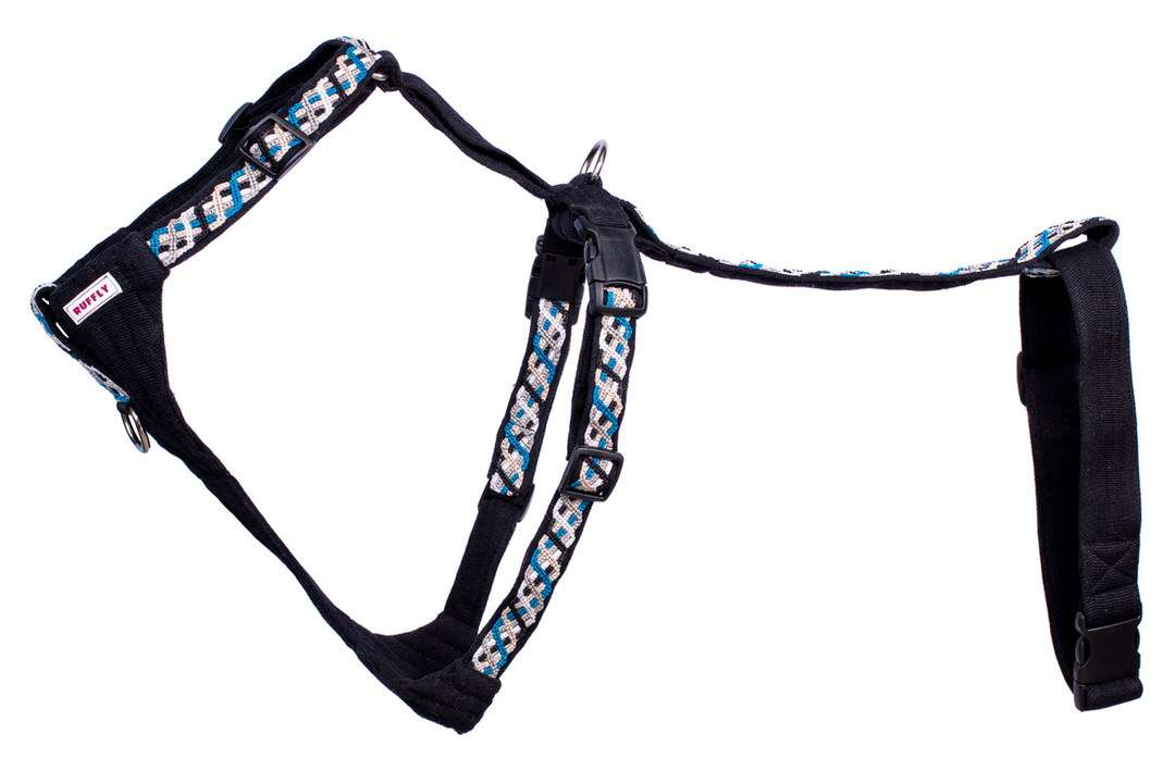 Sea blue motorcycle dog carrier harness for safely riding with a dog