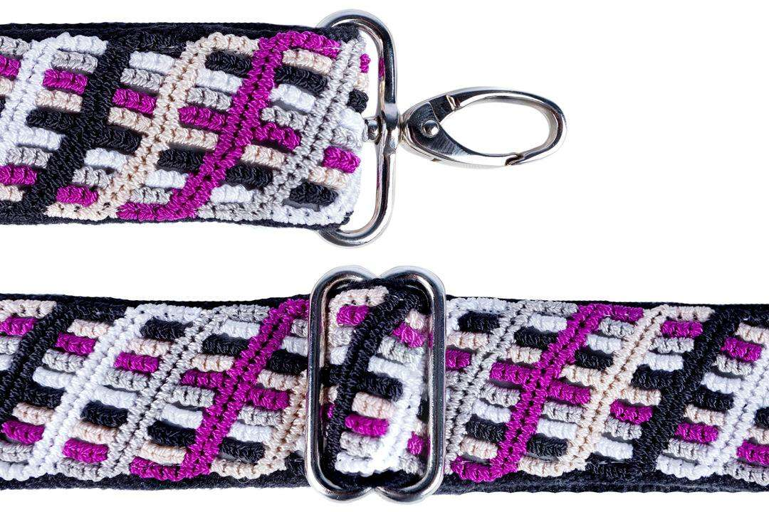 Artisan made reflective camera strap in purple and black with stainless lobster swivel clip and length adjuster