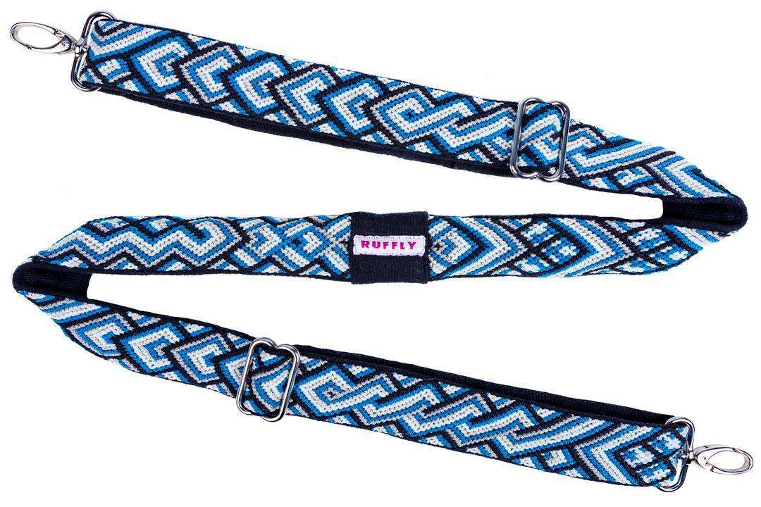 Ethically artisan made reflective blue camera strap with natural dyes in zigzag layout