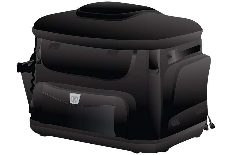Simplified vector image of the Kuryakyn Grand Pet Palace motorcycle dog carrier for small dogs