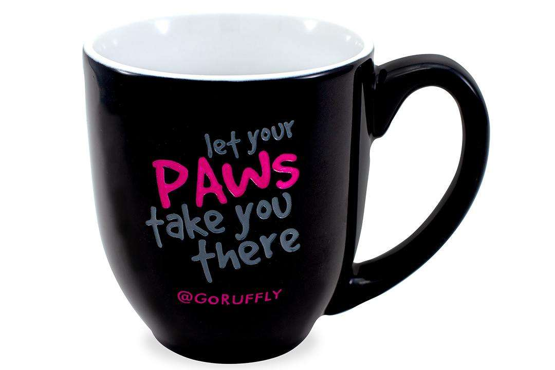 "RUFFLY's moto ""Let Your Paws Take You There"" engraved and hand-painted on a ceramic mug"