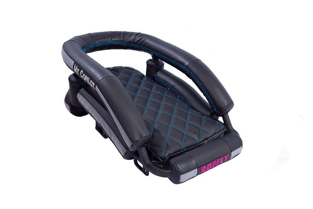 """Front view of medium-size, cushioned motorcycle dog carrier in black vinyl and turquoise stitching with """"MY COPILOT"""" stitched on the side"""