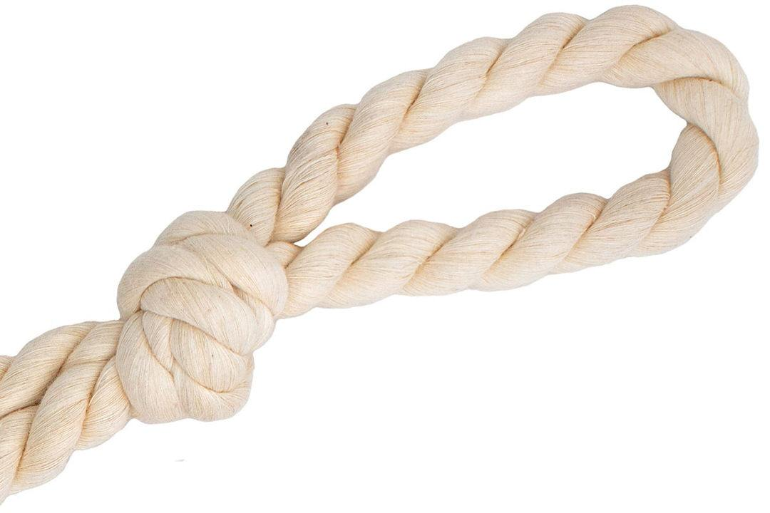 Closeup of handle of cotton rope dog toy