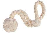 Dog fetch and tug toy from natural cotton rope in a squiggly shape
