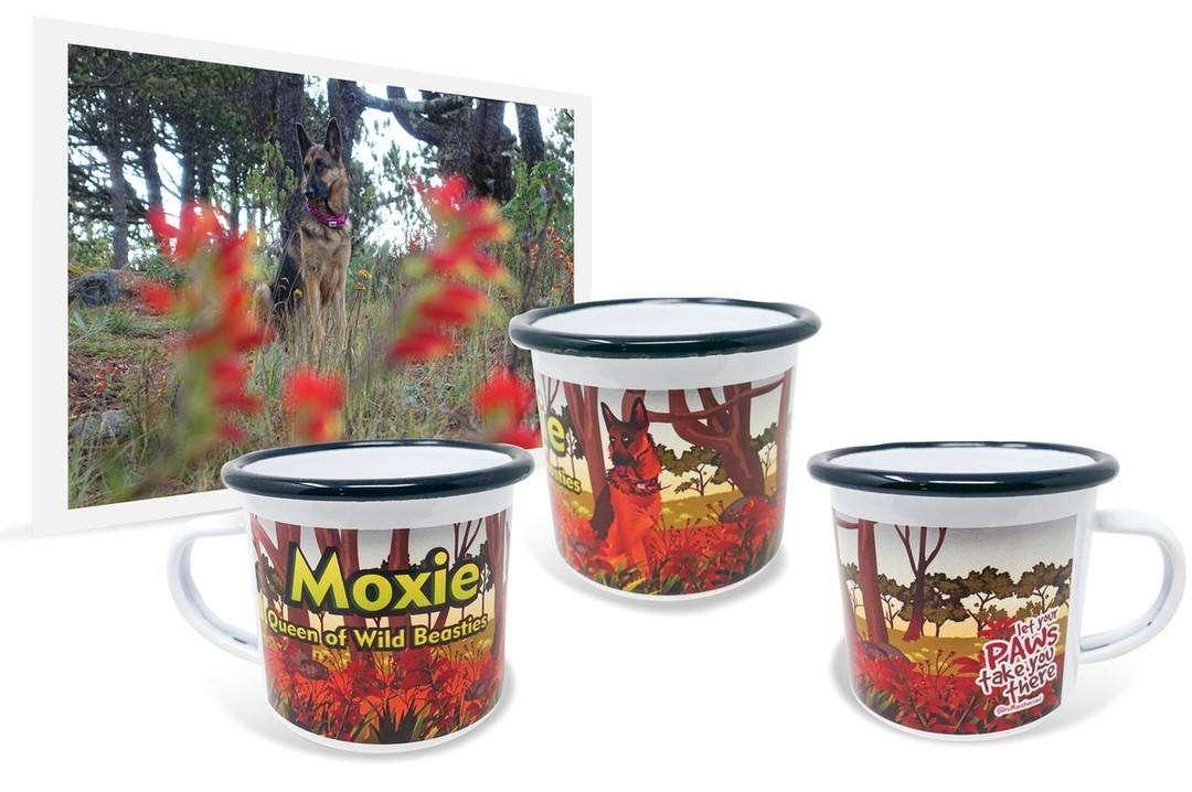 "Photo of German Shepherd among flowers next to custom enamel camping mug that says ""Moxie"""