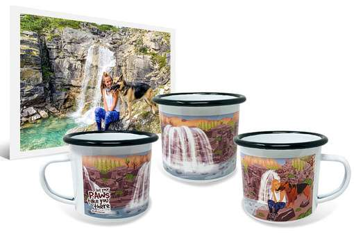 Customized dog artwork of girl and German Shepherd based on original photo on 12oz enamel camping mug
