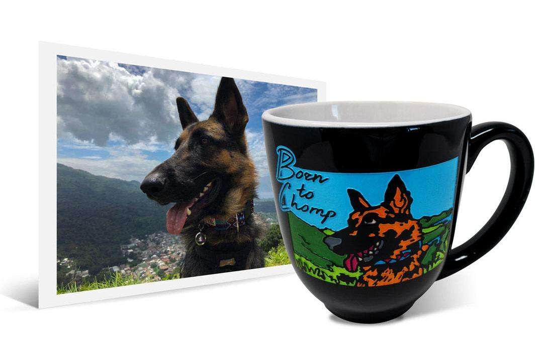 "Photo of German Shepherd next to personalized latte mug that says ""Born to Chomp"""