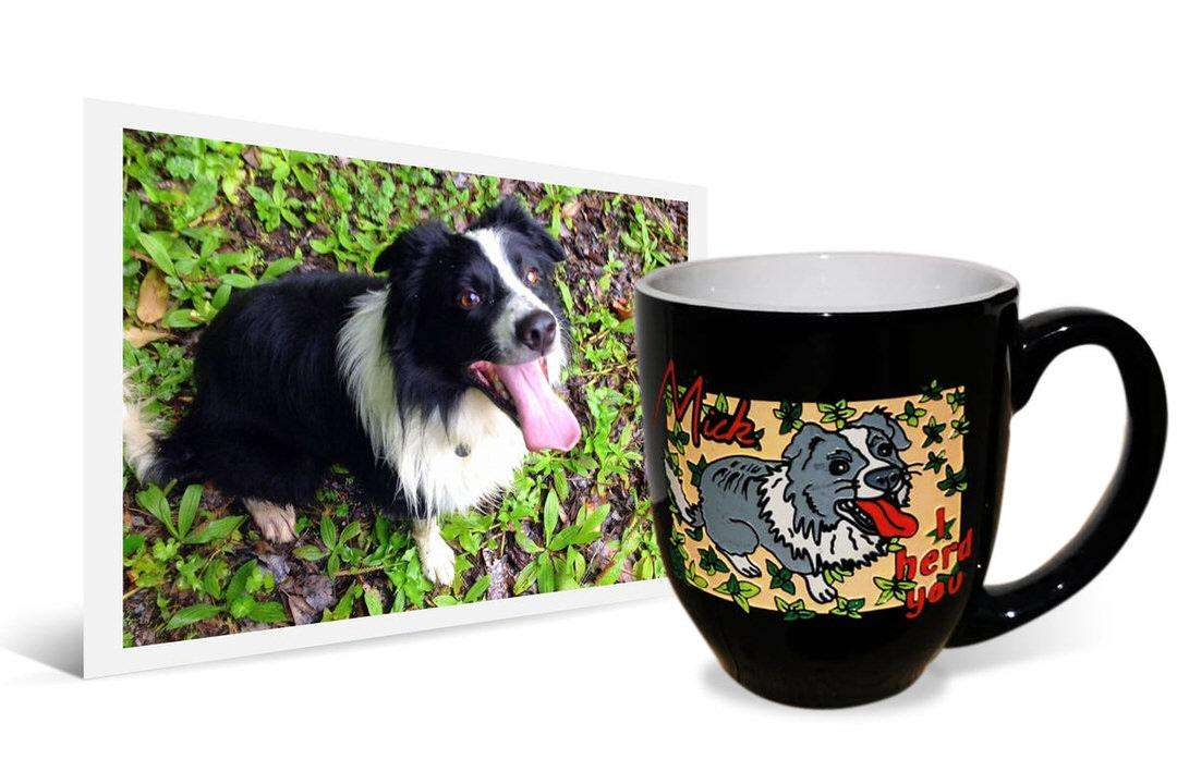 "Photo of black and white Border Collie next to personalized ceramic mug that says ""Mick, I herd you"""
