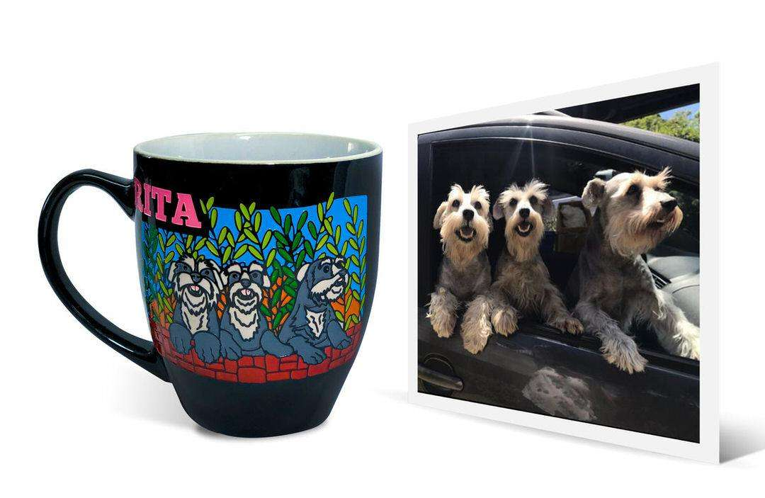 "Cute photo of three dogs in car next to custom mug artwork that says ""Rita"""