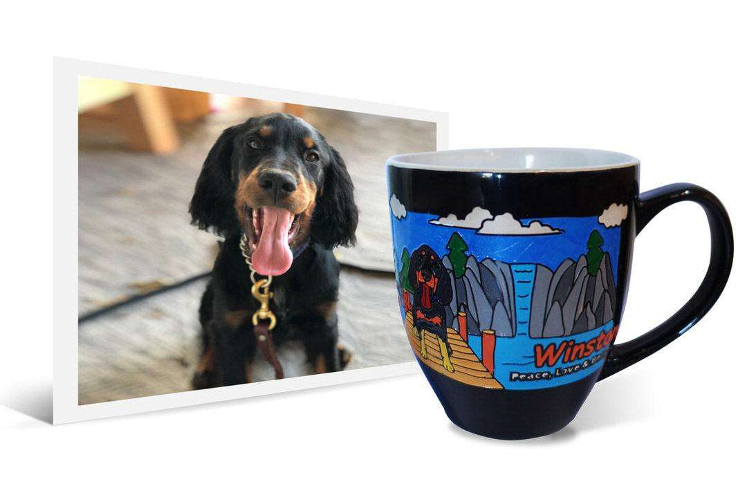 "Photo of shaggy black dog next to custom latte mug that says ""Winston, Peace, Love & Belly Rubs"""