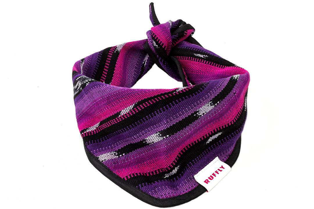 Large handwoven outdoor dog bandana in pink and purple with classic knot tied design