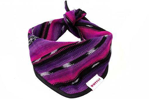 Handmade outdoor dog bandana in pink and purple with classic knot tie closure