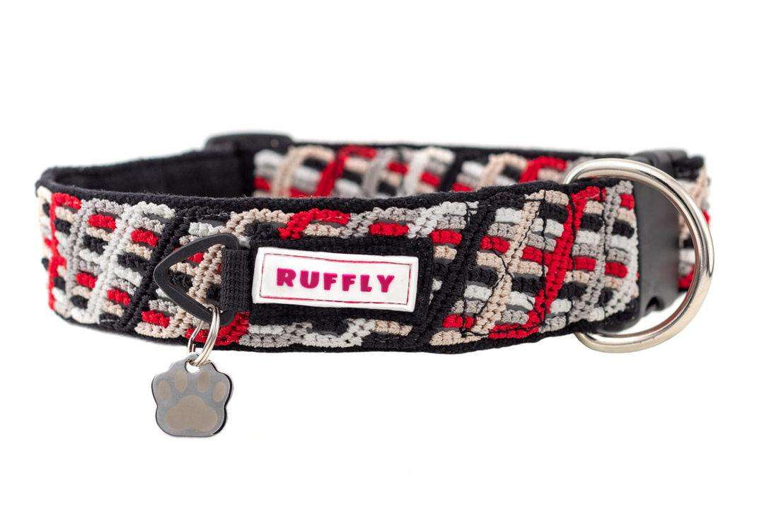 Red handmade knotted collar for large dog with metal ID tag in Paw shape connected to plastic no-jingle tag ring